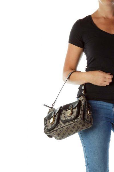 Black Monogrammed Shoulder Bag