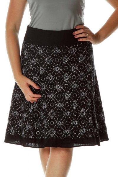 Black White Embroidered A-Line Skirt