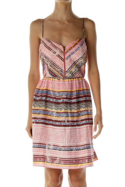 Print Printed Zippered Day Dress
