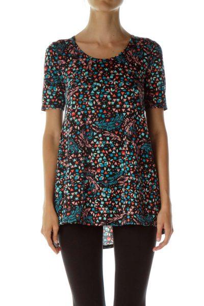 Black Multicolor Print T-Shirt