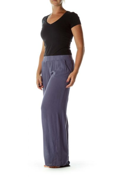 Blue Loose Wide Leg Pants