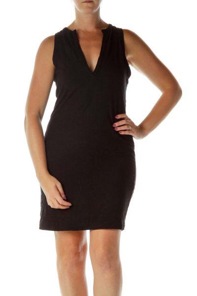 Black V-Neck Jersey Knit Dress
