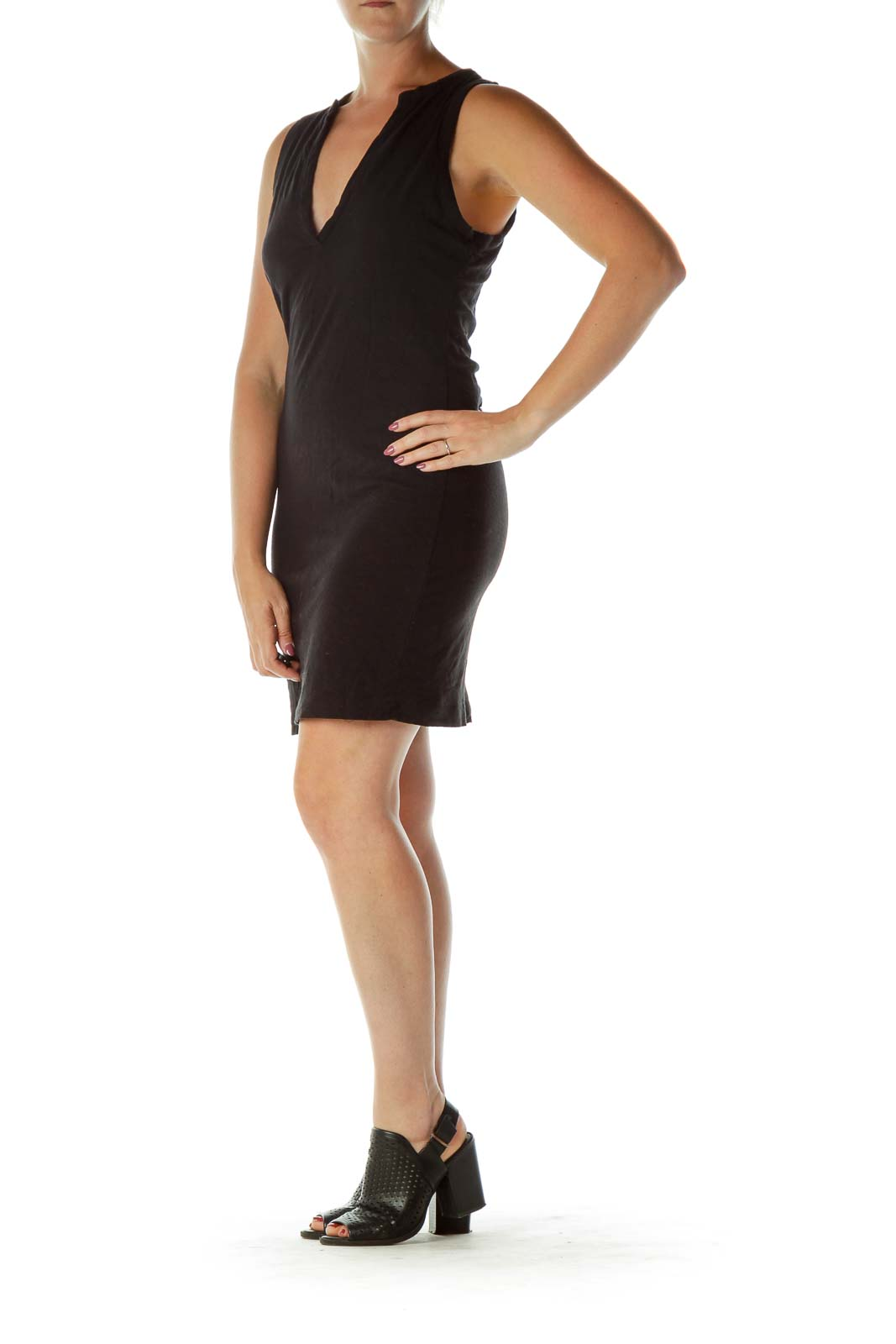 Black V-Neck Jersey Knit Dress