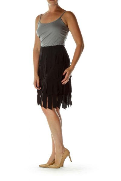Black Fringe Pencil Pencil Skirt