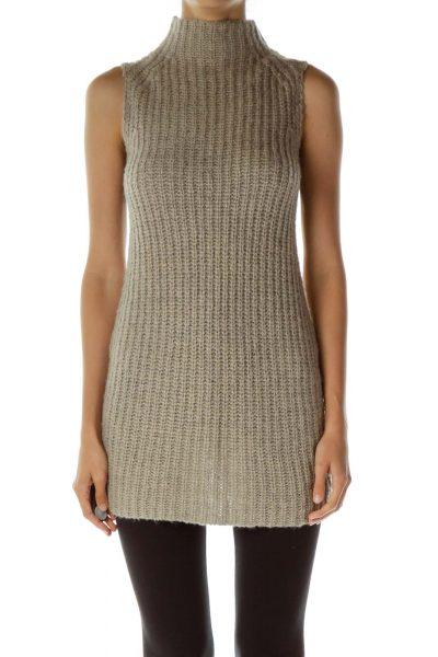 Gray Cable Knit Turtle Neck Top