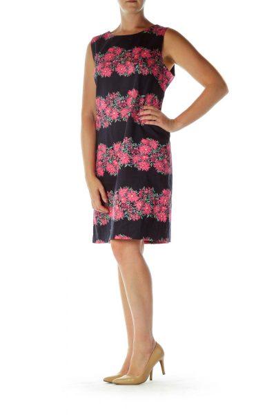 Navy Pink Flower Print Shift Dress