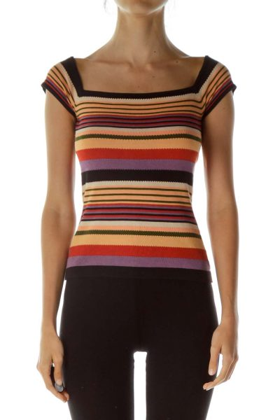 Multicolor Square Neck Knit Top