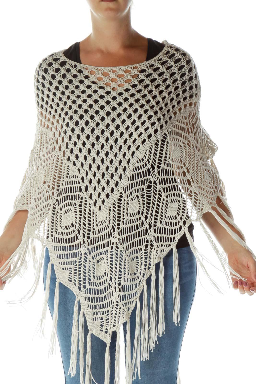 Cream Cable Knit Poncho