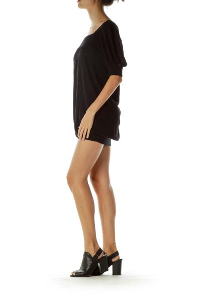 Black Square Neck Knit Dress