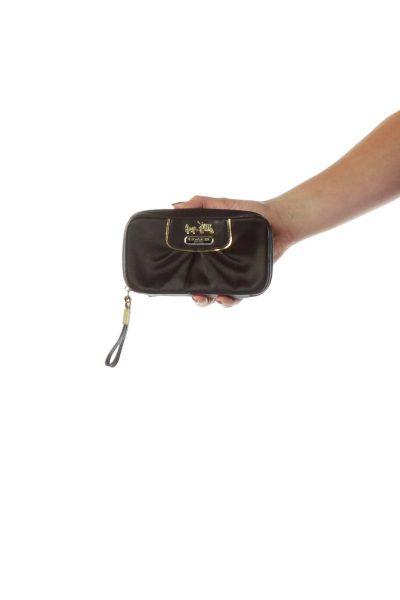Black Satin Leather Trim Wristlet