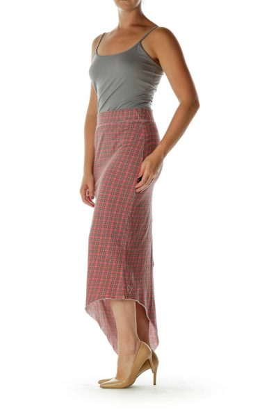 Red Blue Plaid Asymmetrical Skirt