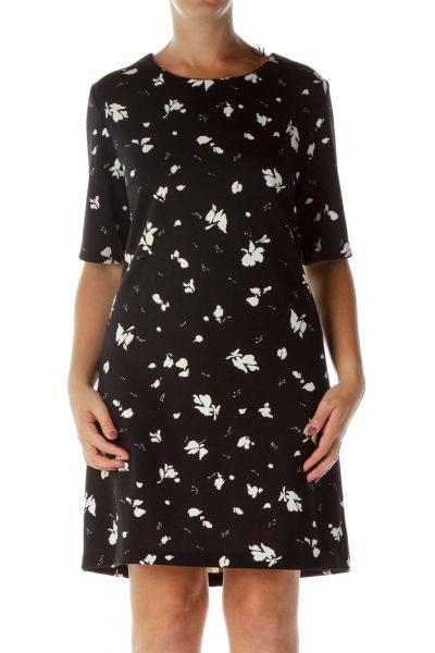 Black White Flower Print Work Dress