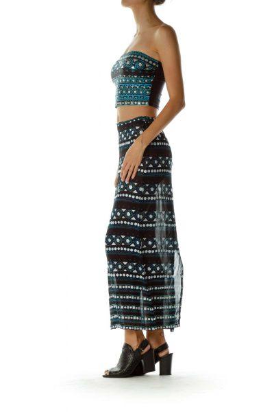 Black Silver Maxi Skirt & Bikini Top