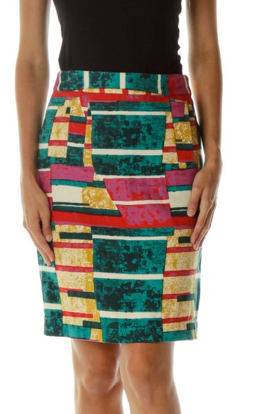 Multicolor Print Pencil Skirt