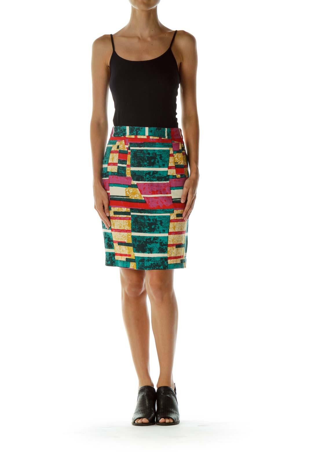 Multicolor Print Pencil Skirt