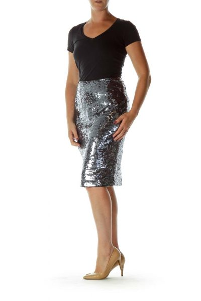 Blue Sequined Pencil Skirt