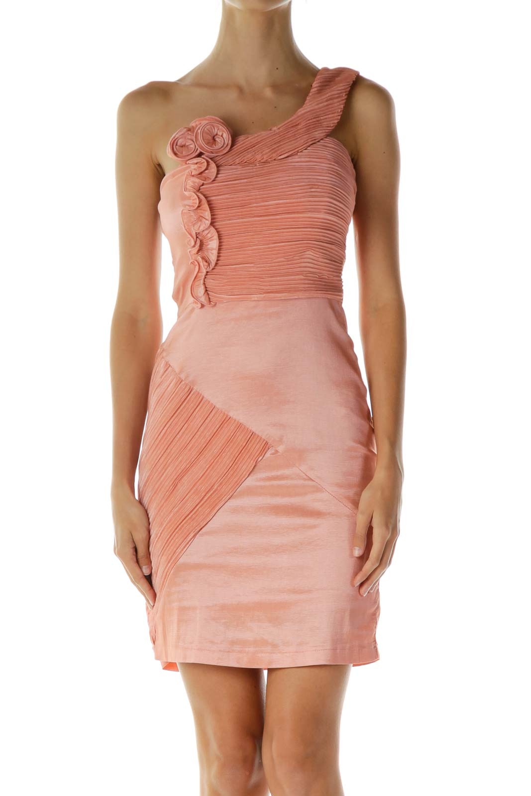 Pink Scrunched Ruffled Cocktail Dress