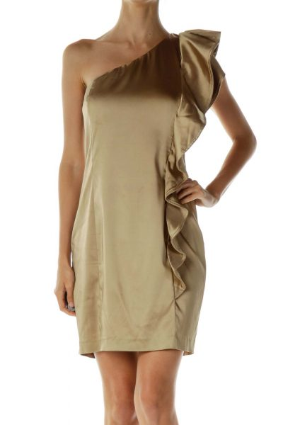 Gold One-Shoulder Ruffled Cocktail Dress