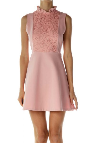 Pink Crocheted Empire Waist Dress