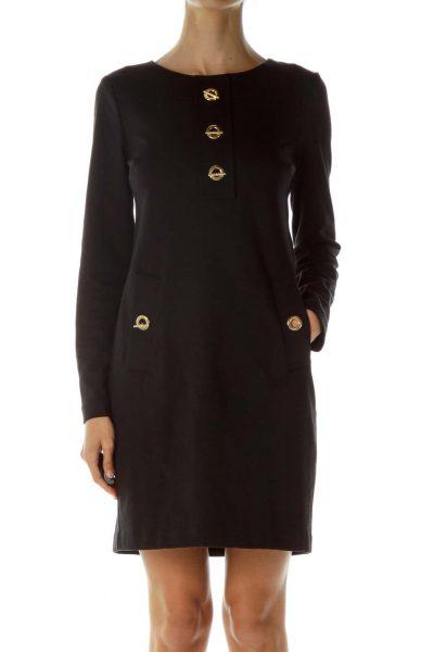 Black Gold Hardware Long Sleeve Work Dress