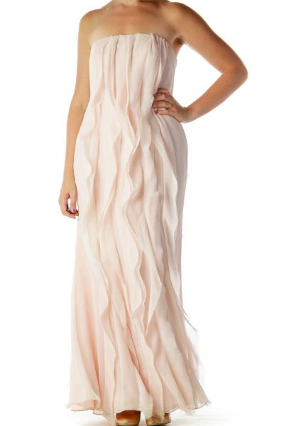 Pink Ruffled Strapless Evening Dress