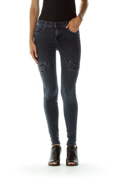Blue Zipper Pocket Skinny Jeans