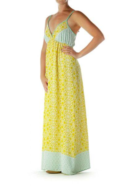 Yellow Green Print Maxi Dress