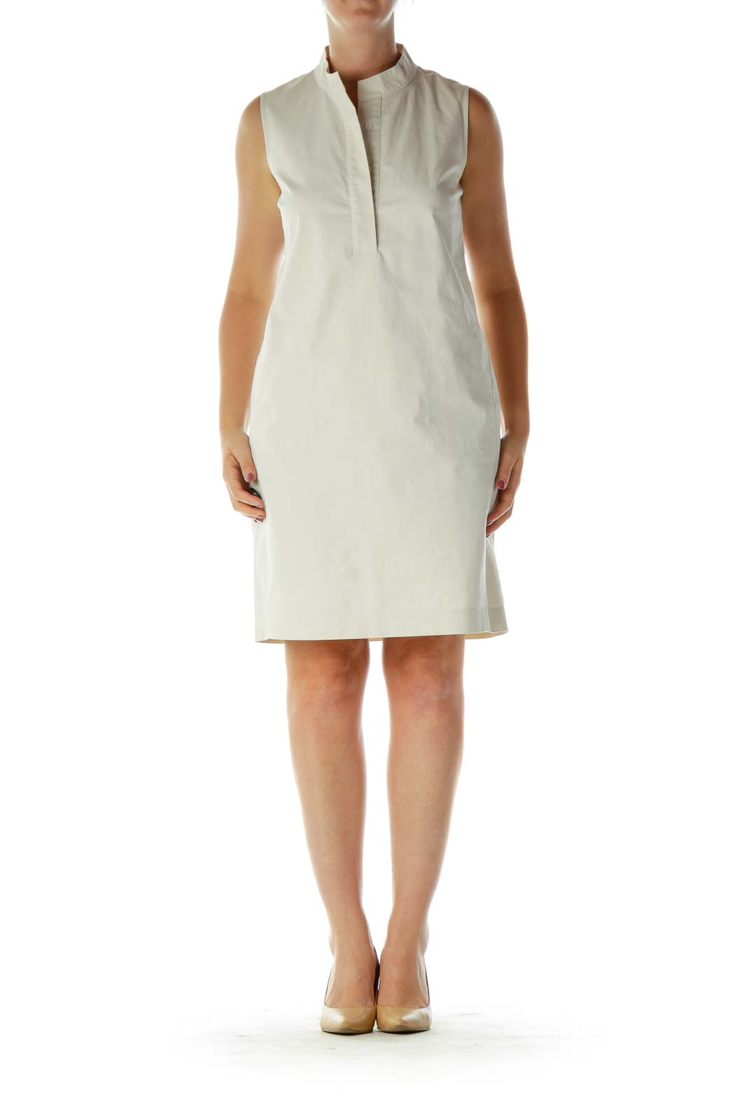 Cream Khaki Sleeveless Work Dress