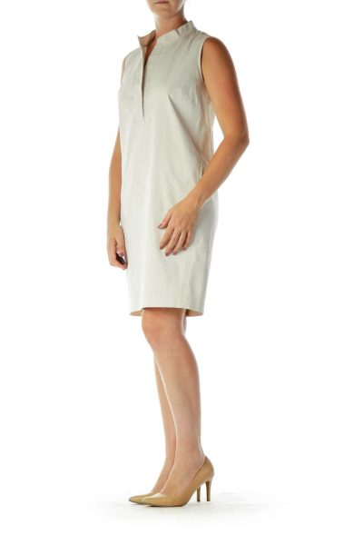 Cream Khaki Sleeveless Work Dress