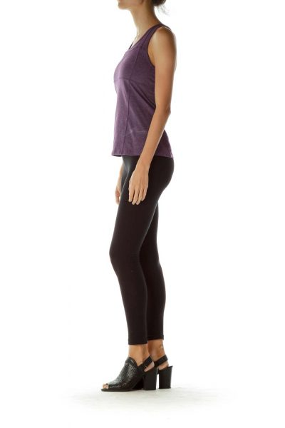 Purple Cross Back Yoga Top