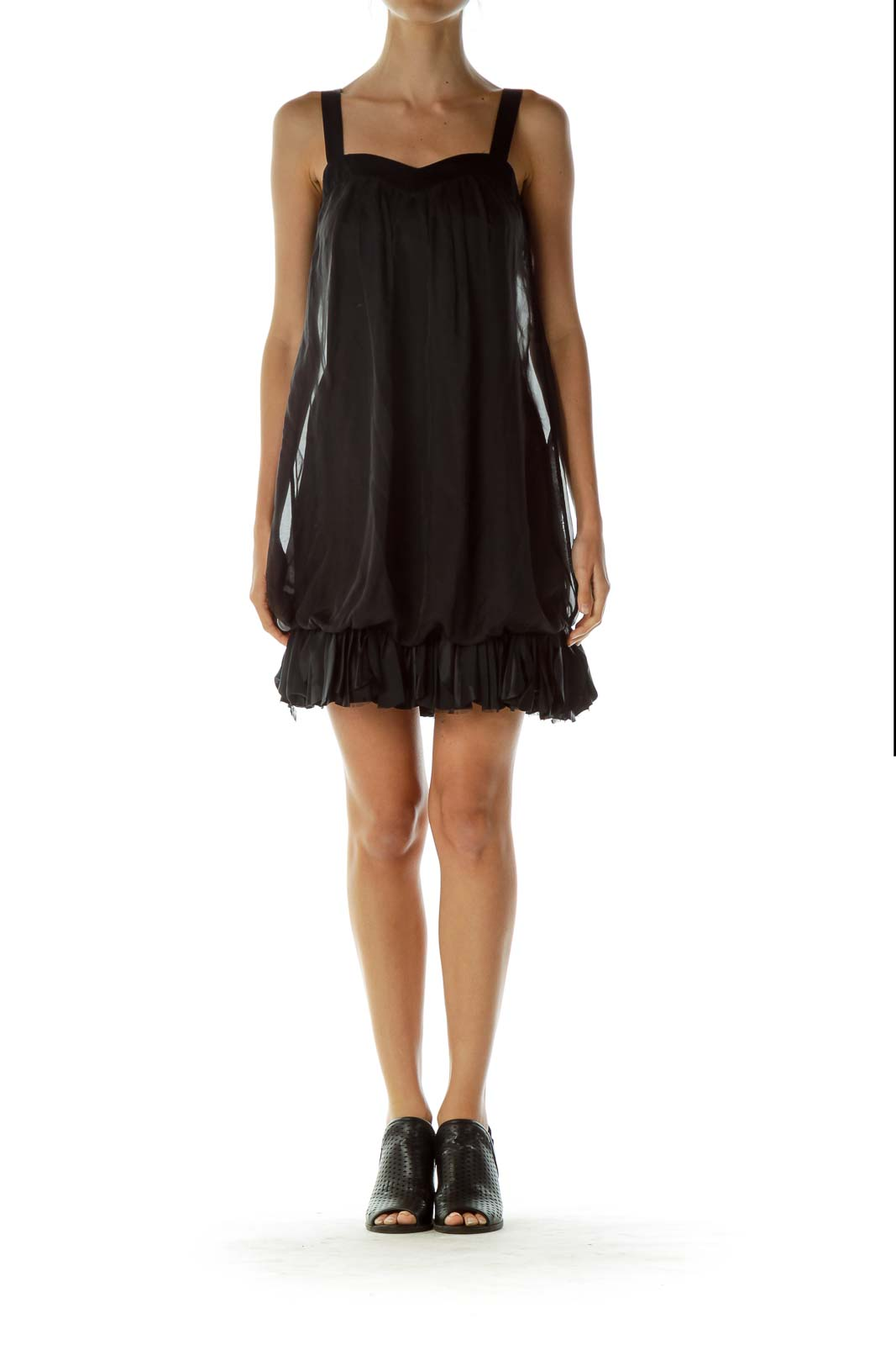 Black Ruffled Sweetheart Neckline Cocktail Dress
