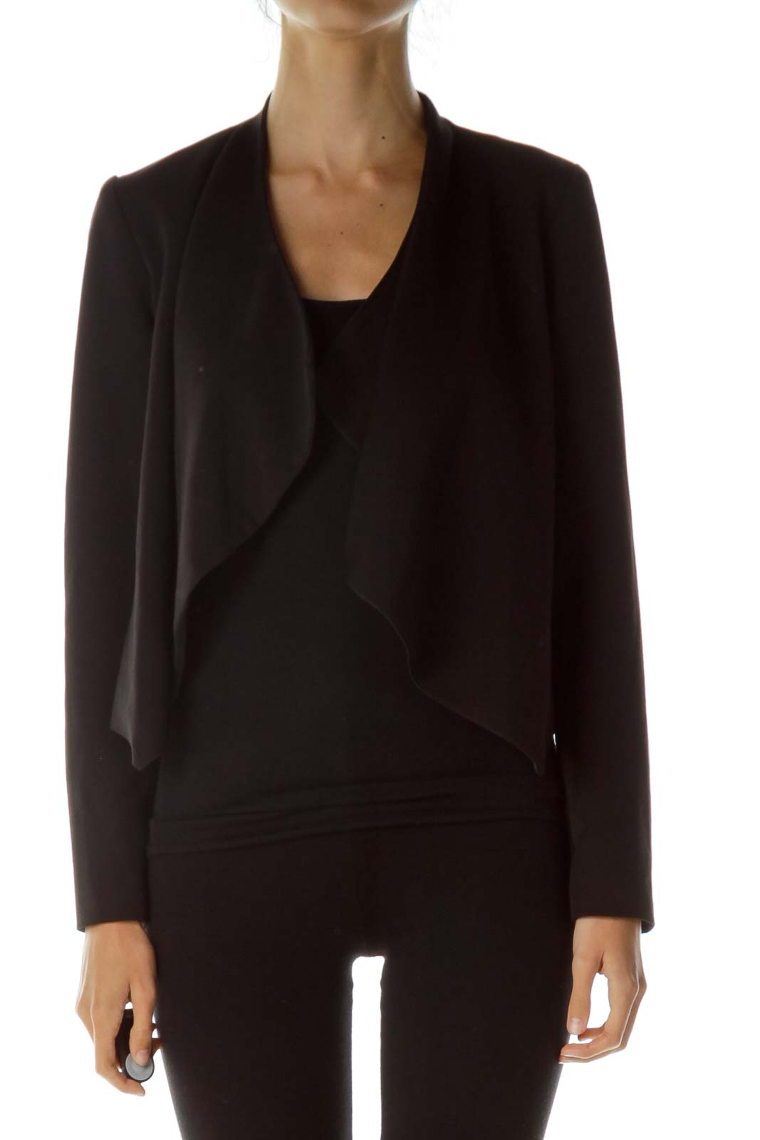 Black Open Long Sleeve Blazer