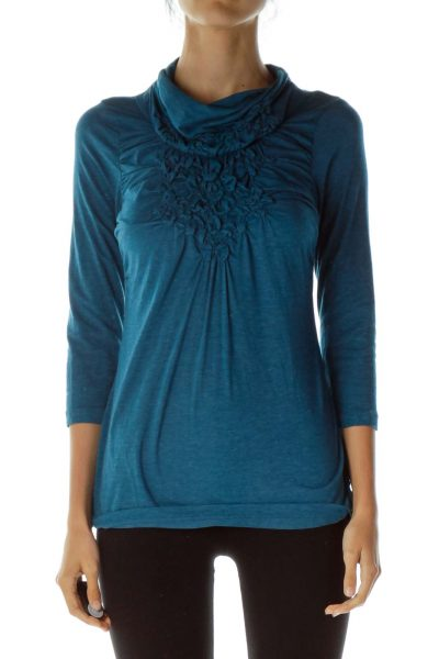 Blue Ruffled Neck Knit Top
