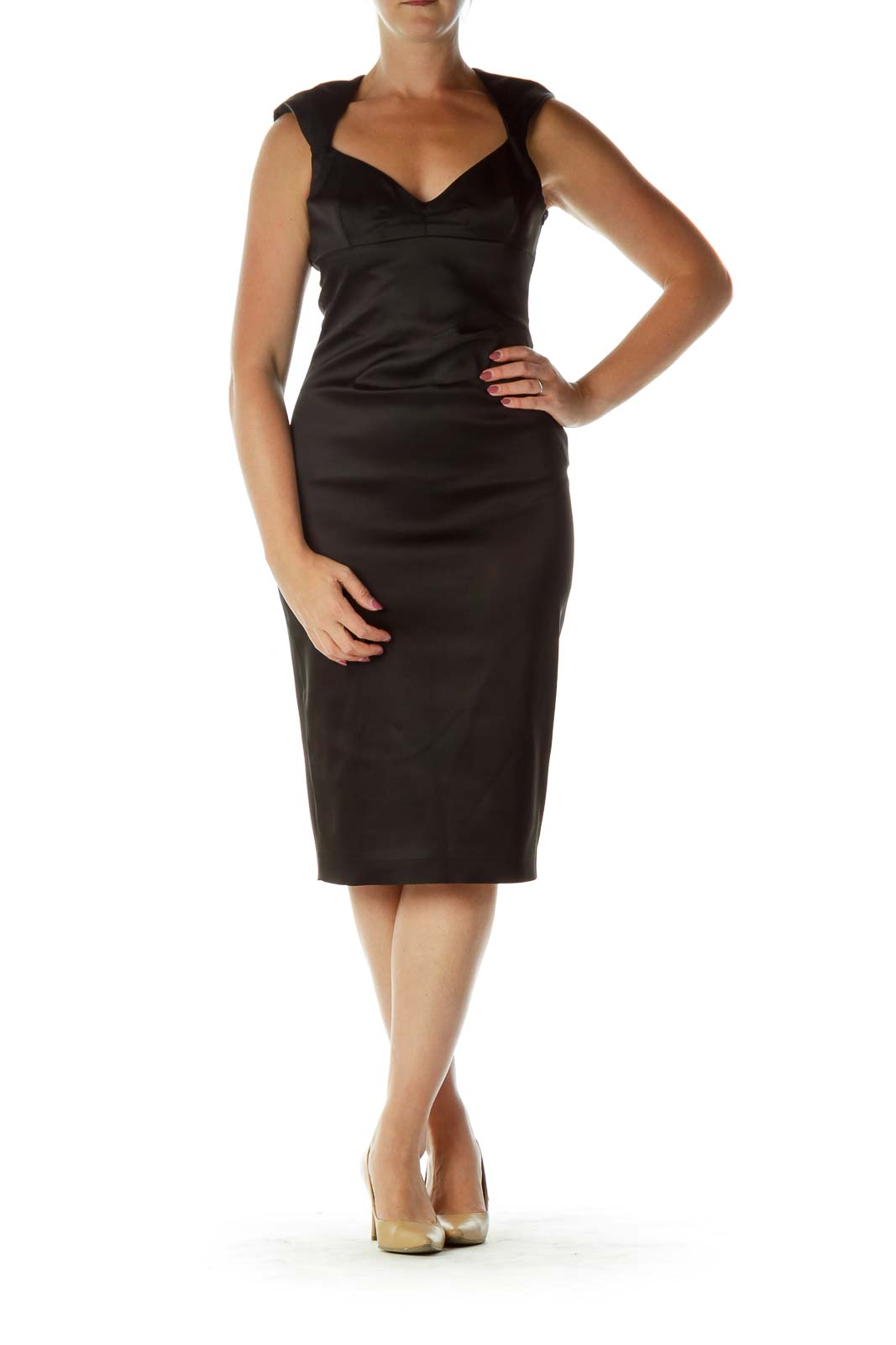 Black Sweetheart Neck Satin Cocktail Midi Dress