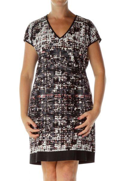 Black Gray Printed Work Dress