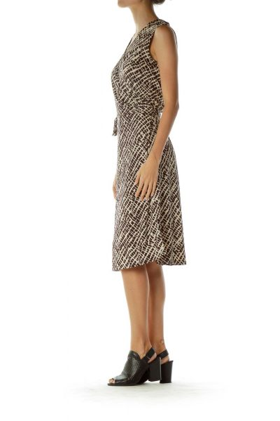 Brown and Beige Printed Wrap Dress