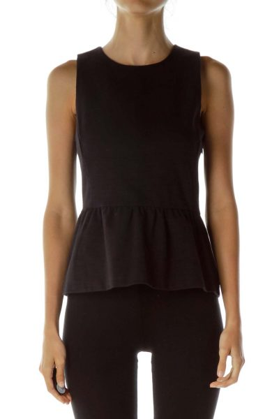 Black Peplum Sleeveless Blouse