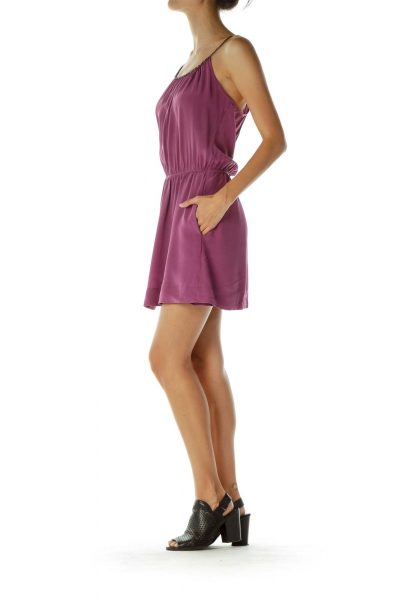 Purple Silk Cocktail Dress