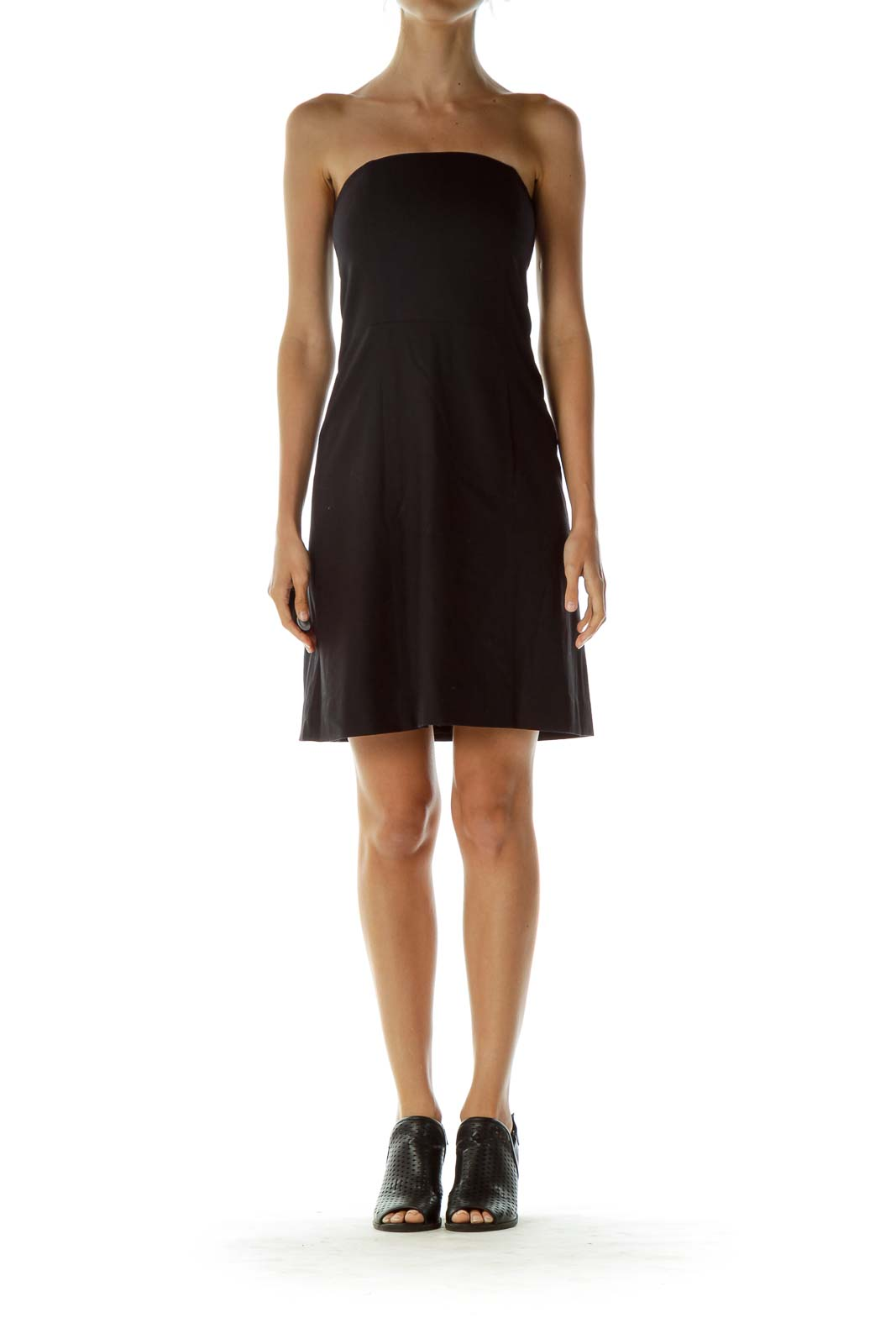 Black Wool Strapless Cocktail Dress