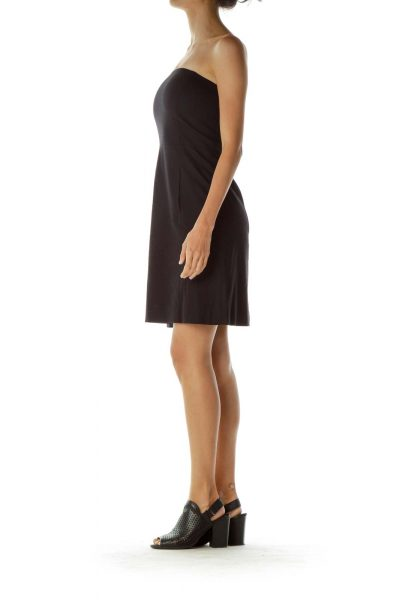 Black Wool Strapless Cocktail Dress