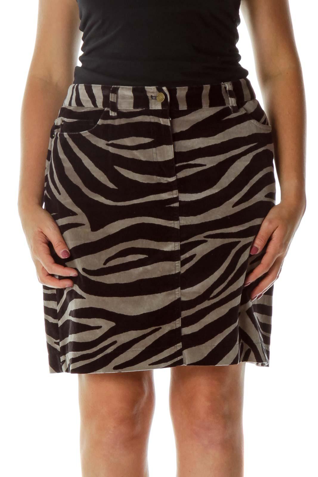 Gray Black Velvet Zebra Print Skirt
