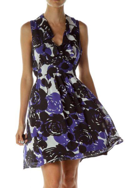 Purple and Black Ruffled Short Sleeve Dress