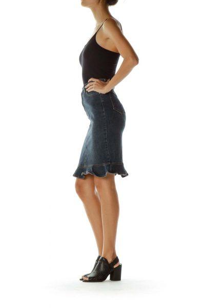 Blue Ruffled Denim Skirt