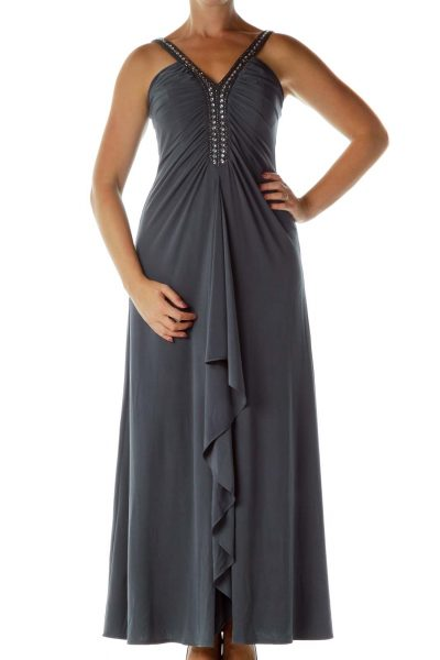 Gray Beaded Evening Dress