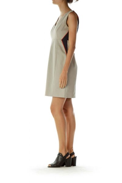 Beige Navy Color Block Work Dress