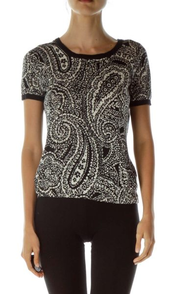 Black Beige Paisley Print Top