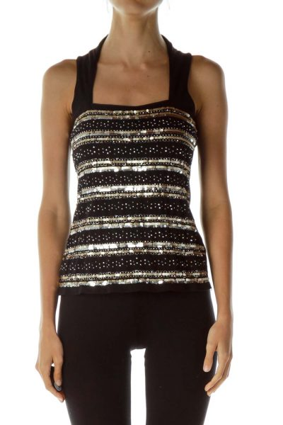 Black Gold Sequined Tank Top