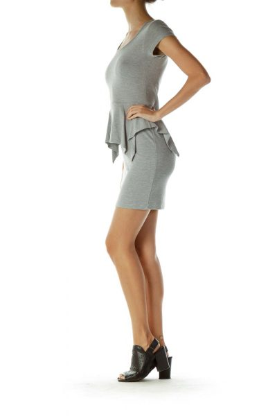 Gray Peplum Knit Dress