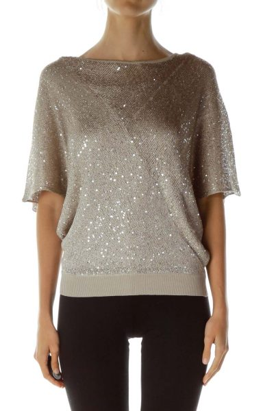 Beige Metallic Sequined Top