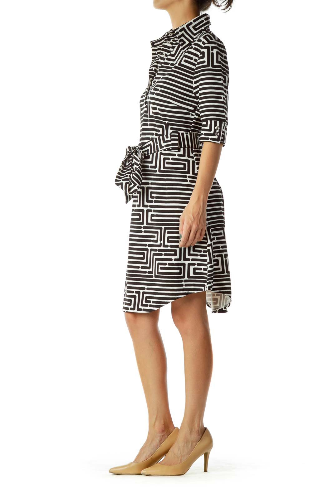 Black White Geometric Print Dress